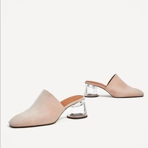 Zara Trafaluc Pink Mules with Clear Chunky Heel